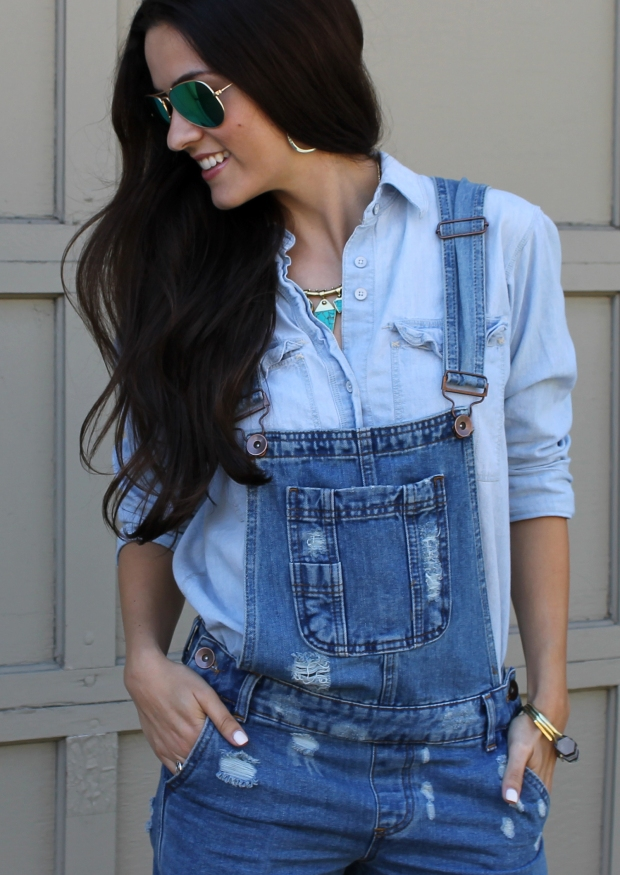 Denim on denim overalls